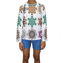 A Set Of 9 Nine Snowflakes On White Kids  Long Sleeve Swimwear