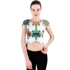 A Set Of 9 Nine Snowflakes On White Crew Neck Crop Top