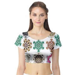 A Set Of 9 Nine Snowflakes On White Short Sleeve Crop Top (tight Fit)