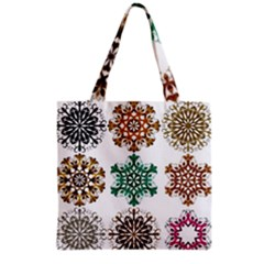 A Set Of 9 Nine Snowflakes On White Grocery Tote Bag