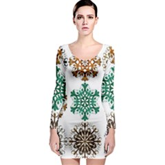A Set Of 9 Nine Snowflakes On White Long Sleeve Bodycon Dress