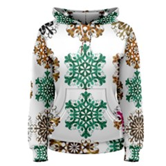 A Set Of 9 Nine Snowflakes On White Women s Pullover Hoodie