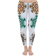 A Set Of 9 Nine Snowflakes On White Classic Winter Leggings