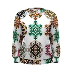 A Set Of 9 Nine Snowflakes On White Women s Sweatshirt