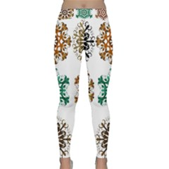 A Set Of 9 Nine Snowflakes On White Classic Yoga Leggings