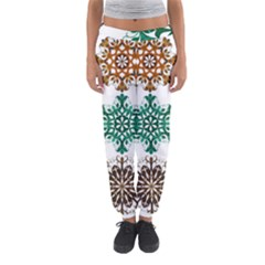 A Set Of 9 Nine Snowflakes On White Women s Jogger Sweatpants