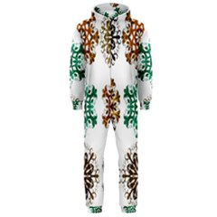 A Set Of 9 Nine Snowflakes On White Hooded Jumpsuit (men)