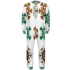 A Set Of 9 Nine Snowflakes On White Onepiece Jumpsuit (men)