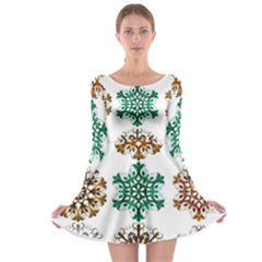 A Set Of 9 Nine Snowflakes On White Long Sleeve Skater Dress