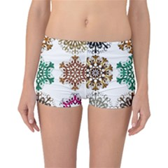 A Set Of 9 Nine Snowflakes On White Boyleg Bikini Bottoms