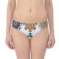 A Set Of 9 Nine Snowflakes On White Hipster Bikini Bottoms