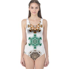 A Set Of 9 Nine Snowflakes On White One Piece Swimsuit