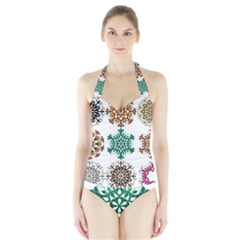 A Set Of 9 Nine Snowflakes On White Halter Swimsuit
