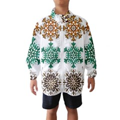 A Set Of 9 Nine Snowflakes On White Wind Breaker (Kids)