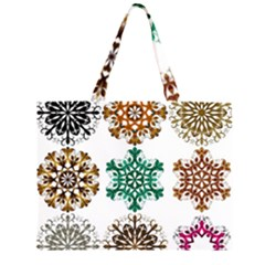 A Set Of 9 Nine Snowflakes On White Zipper Large Tote Bag