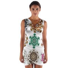 A Set Of 9 Nine Snowflakes On White Wrap Front Bodycon Dress