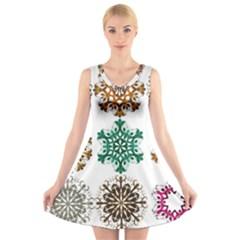 A Set Of 9 Nine Snowflakes On White V Neck Sleeveless Skater Dress