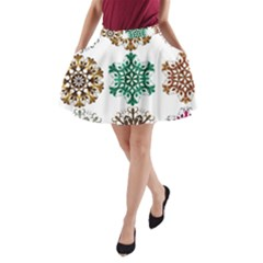 A Set Of 9 Nine Snowflakes On White A Line Pocket Skirt