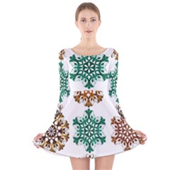 A Set Of 9 Nine Snowflakes On White Long Sleeve Velvet Skater Dress