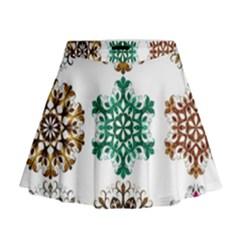 A Set Of 9 Nine Snowflakes On White Mini Flare Skirt