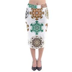 A Set Of 9 Nine Snowflakes On White Midi Pencil Skirt