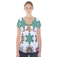 A Set Of 9 Nine Snowflakes On White Short Sleeve Front Detail Top