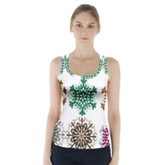 A Set Of 9 Nine Snowflakes On White Racer Back Sports Top