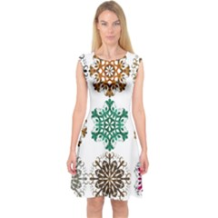 A Set Of 9 Nine Snowflakes On White Capsleeve Midi Dress