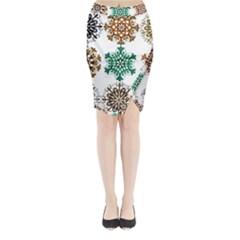 A Set Of 9 Nine Snowflakes On White Midi Wrap Pencil Skirt