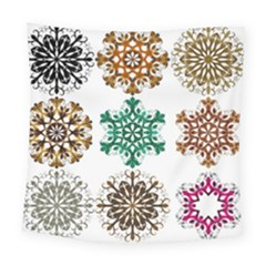 A Set Of 9 Nine Snowflakes On White Square Tapestry (large)