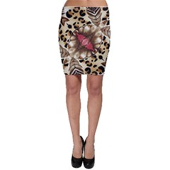 Animal Tissue And Flowers Bodycon Skirt