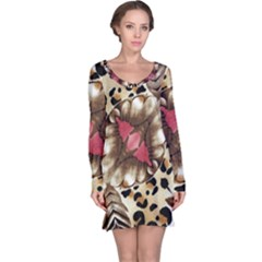 Animal Tissue And Flowers Long Sleeve Nightdress