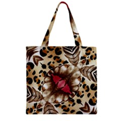Animal Tissue And Flowers Zipper Grocery Tote Bag