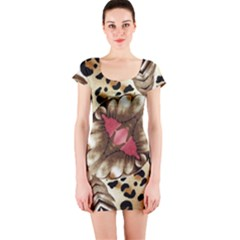 Animal Tissue And Flowers Short Sleeve Bodycon Dress