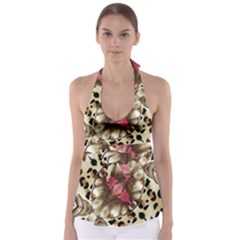 Animal Tissue And Flowers Babydoll Tankini Top