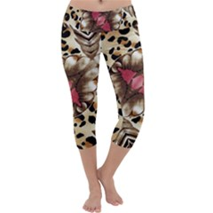 Animal Tissue And Flowers Capri Yoga Leggings