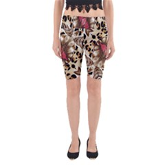 Animal Tissue And Flowers Yoga Cropped Leggings