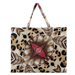 Animal Tissue And Flowers Zipper Large Tote Bag