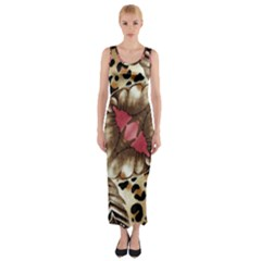 Animal Tissue And Flowers Fitted Maxi Dress