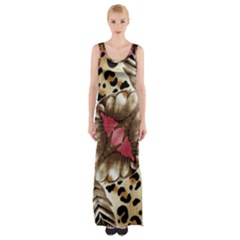 Animal Tissue And Flowers Maxi Thigh Split Dress