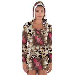 Animal Tissue And Flowers Women s Long Sleeve Hooded T Shirt