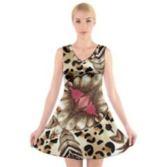 Animal Tissue And Flowers V Neck Sleeveless Skater Dress