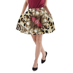 Animal Tissue And Flowers A Line Pocket Skirt