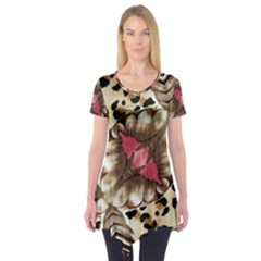 Animal Tissue And Flowers Short Sleeve Tunic