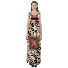 Animal Tissue And Flowers Empire Waist Maxi Dress