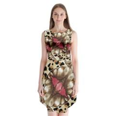 Animal Tissue And Flowers Sleeveless Chiffon Dress