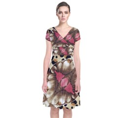 Animal Tissue And Flowers Short Sleeve Front Wrap Dress