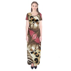 Animal Tissue And Flowers Short Sleeve Maxi Dress