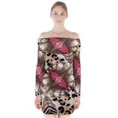 Animal Tissue And Flowers Long Sleeve Off Shoulder Dress