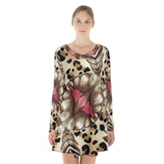 Animal Tissue And Flowers Long Sleeve Velvet V Neck Dress